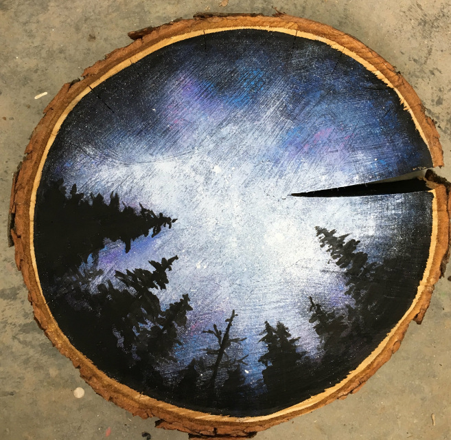 Galaxy Wood Slice Painting